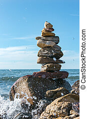 積み重ねられた, 石, 概念, 波, baikal, 調和, ボールダー, 湖, バランス, inshore, ピラミッド