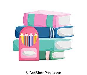 積み重ねられた, 背中, 有色人種, 箱, 鉛筆, 教育, 本, 学校