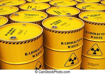 積み重ねられた, 黄色, ドラム, グループ, 無駄, 放射性