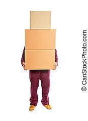 積み重ねられた, boxes., 人