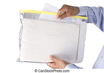 積み重ね, ba, ∥あるいは∥, ジッパー, 文書, neatly, 透明, プラスチック, 安全に, 保持