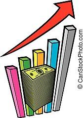 積極, 事務, 圖表, 由于, 箭, 以及, 大, 錢的堆, -, 生意概念