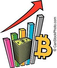 積極, 事務, 圖表, 由于, 箭, 以及, bitcoin, 簽署, -, 生意概念