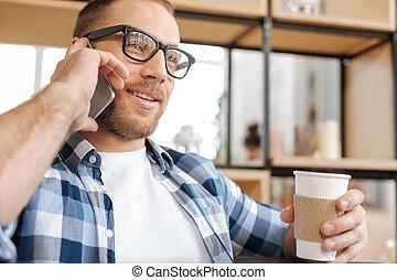 積極, 聰明, 人, 藏品, a, 塑料的杯杯狀結構杯狀物, 由于, 咖啡