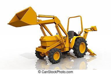 積込み機, トラクター, バックホウ, コンパクト, 前部