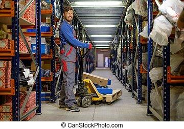積込み機, 使うこと, 手, パレットトラック, 中に, a, 倉庫