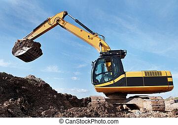 積込み機, 掘削機, 中に, a, 採石場