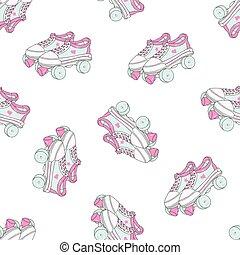 穴にひもを通された, カラフルである, パターン, ブーツ, seamless, バックグラウンド。, ベクトル, レトロ, スケート, クォード, 白, ローラー