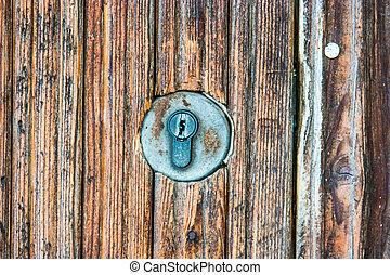 穴, キー, ドア, 古代, 金属
