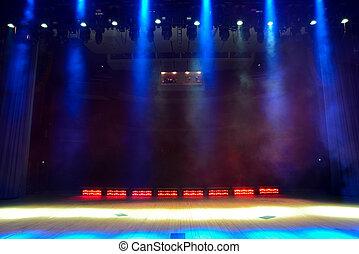 空のステージ, コンサート, 煙, 照らされた