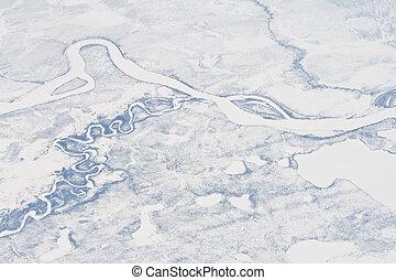 空中のショット, の, a, 凍らせられた, 川, possibly, ∥, olenyok, 川, 中に, 北,...