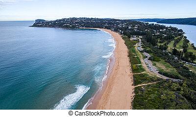 空中写真, の, やし 浜, 半島, シドニー, オーストラリア