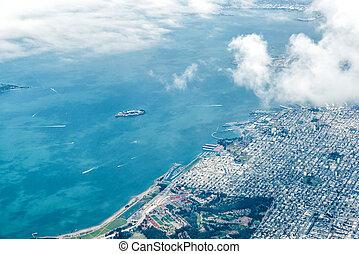 空中写真, の, サンフランシスコ, そして, alcatraz
