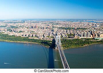 空中写真, の, ジョージ・ワシントン橋, 新しい, york/new, ジャージー