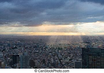 空中写真, の, スプロール現象, の, 東京