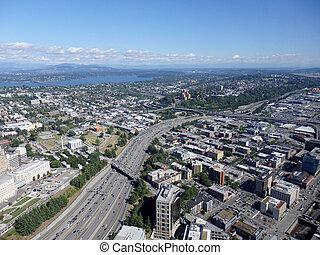 空中写真, の, ダウンタウンに, シアトル, 建物, 組合, 湖, そして, i-5, ハイウェー