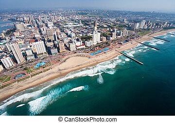 空中写真, の, ダーバン, 南アフリカ