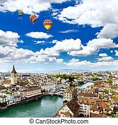 ∥, 空中写真, の, チューリッヒ, 都市