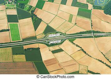 空中写真, の, トラック運転手, 駐車, 上に, ∥, highway.
