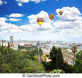∥, 空中写真, の, バルセロナ, 都市, そして, 港