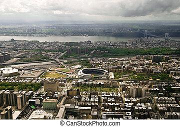 空中写真, の, マンハッタン, ニューヨーク