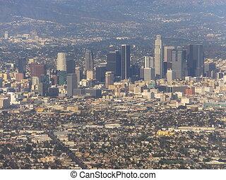 空中写真, の, ロサンゼルス