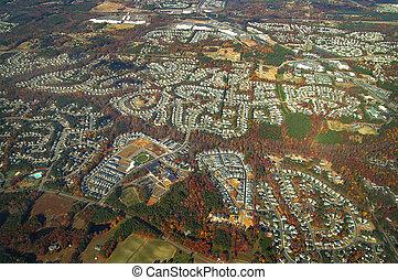 空中写真, の, 家