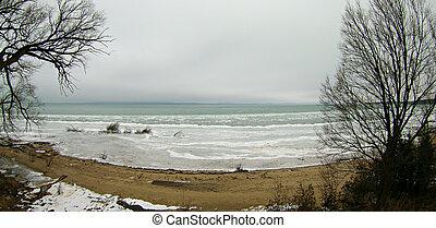 空中写真, の, 湖 ミシガン州, ∥において∥, 絶頂, 路傍, 公園