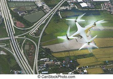 空中写真, の, 無人機, 写真撮影, 上に, 土地輸送機関, 背景