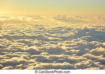 空中写真, の, 空, そして, 雲, 中に, ∥, 夕方