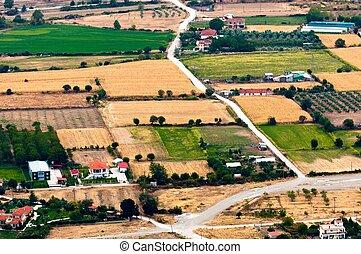 空中写真, の, 緑, フィールド