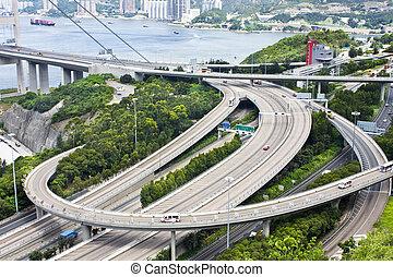 空中写真, の, 複合センター, ハイウェー, 交換, 中に, hongkong