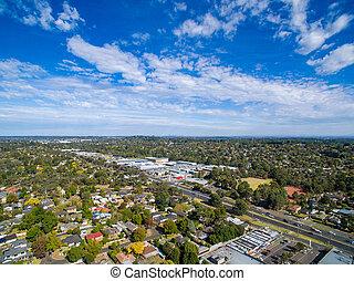 空中写真, の, 郊外, 家, 中に, メルボルン, オーストラリア