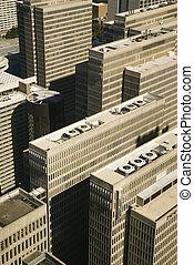 空中写真, の, downtown.