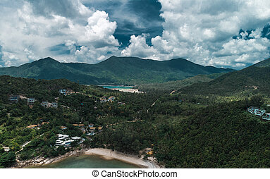 空中写真, の, koh, phangan, タイ
