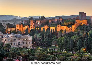 空中写真, の, malaga, 中に, ∥, 夕方, malaga, andalusia, スペイン