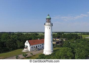 空中写真, の, stevns, 灯台, デンマーク