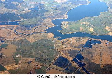 空中写真, -, フィールド, そして, 川