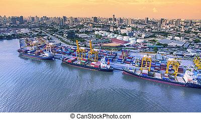 空中的觀點, ......的, 商業, 發貨, 港口, 重要, 進口, 出口, 船, 船塢, 在, 曼谷, 泰國