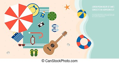 空中的觀點, ......的, 夏天, 海灘, 以及, 海, 由于, 陽傘, 吉他, 拖鞋, 水下通气管, 面罩, 毛巾, starfish, 以及, 元素, 為, 夏季, 套間, 設計, 矢量