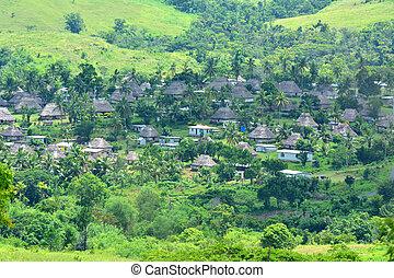 空中的觀點, ......的, navala, 村莊, 在, the, ba, 高地, 斐濟