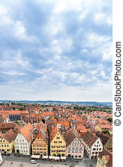 空中的观点, 在中, rothenburg ob der tauber