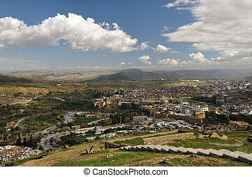 空中的观点, 结束, 城市, 在中, fes, 摩洛哥