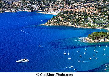 空中, cassis, 南方, 法国, 海岸, calanque, 察看