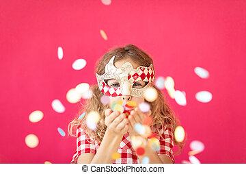 空想, に対して, bakground, 女の子, 吹く, 紙ふぶき, ピンク