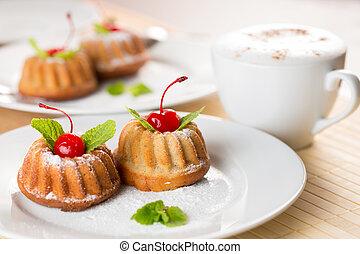 空想, ケーキ, デザート, ∥で∥, カプチーノ, コーヒー, 上に, テーブル