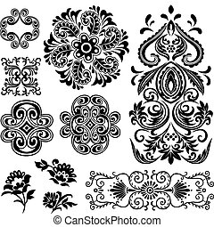 空想, 渦巻, 花のパターン, デザイン
