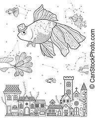 空想, 着色, ページ, 金魚
