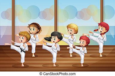 空手, 子供, 練習する