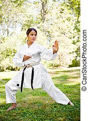 空手, 練習する, アジア人